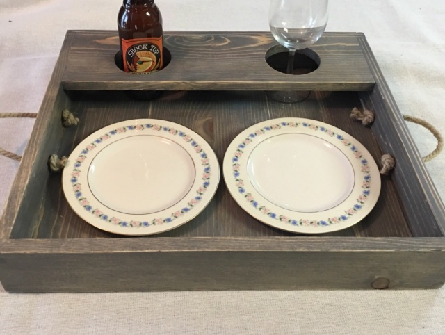 Rustic Serving Tray With Rope Handles