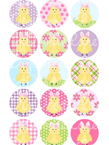 Easter Chicks 1 Inch Circles Bottlecap Images Collage