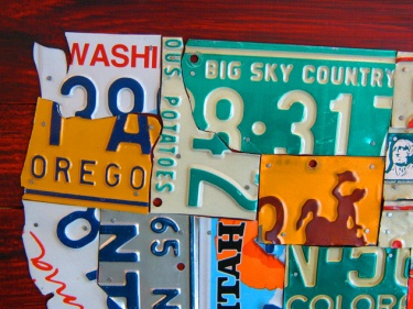 License Plate Map Of The USA Recycled Metal Wall Decor Pub Man - License plate usa map