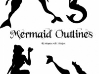 mermaid outline template patterns digital free shipping meylah