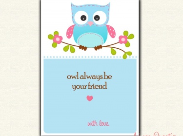 Owl Valentines Day Card PRINTABLE for Children Perfect for School