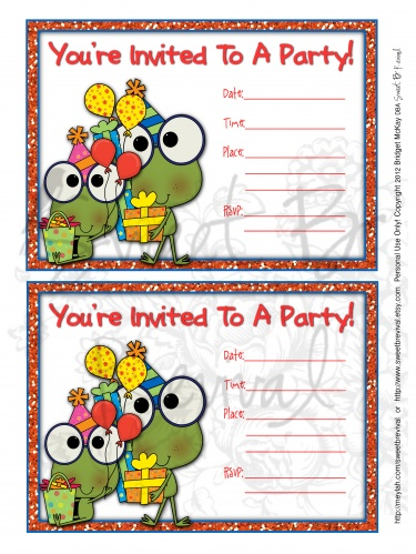 Cute Frog Birthday Party Invitation Printable PDF File Meylah