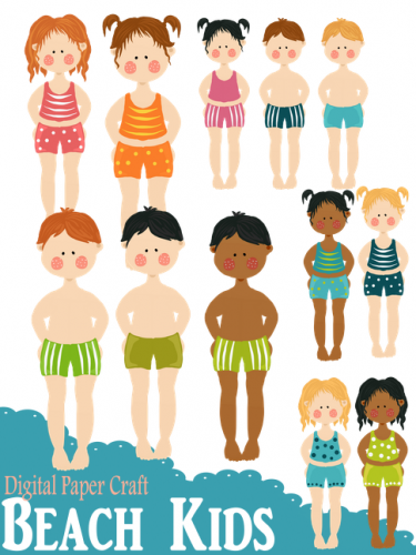 Clipart Beach Kids