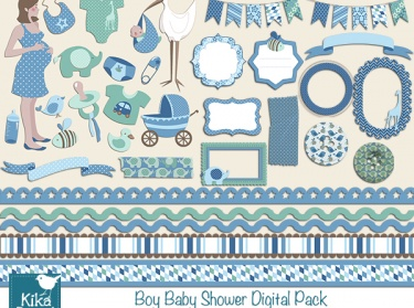 Boy Baby Shower Digital Clipart And Paper Pack Meylah