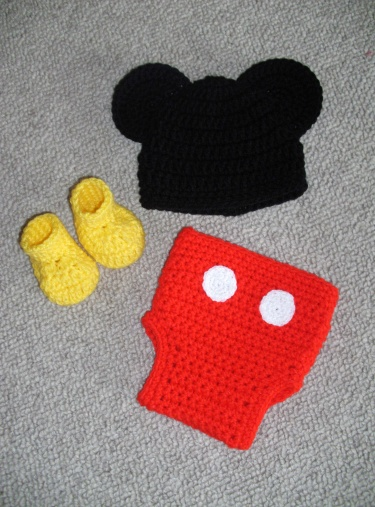Mickey Mouse Hat, Diaper Cover and Bootie Set | Meylah