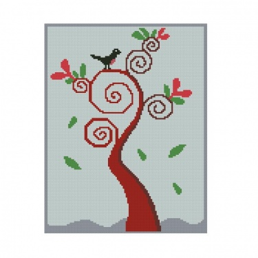 All Stitches Swirl Tree With Bird Cross Stitch Pattern