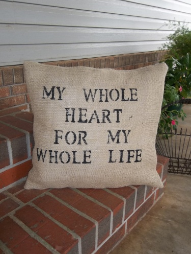 My Whole Heart Throw Pillow Burlap Wedding Decor Slipcover French Country Pottery Barn Style Farmhouse Slip