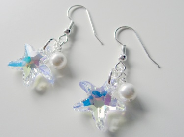 Handmade Sparkling Swarovski Starfish Earrings With White Pearls