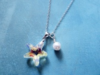 1384aaaca4e18 Handmade Sparkling Sterling Silver Necklace with Swarovski Starfish and  White Pearl