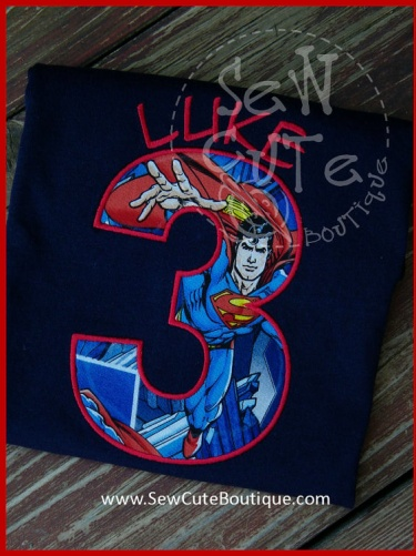 Super Hero Birthday Shirt For Boys Made With Superman Fabric