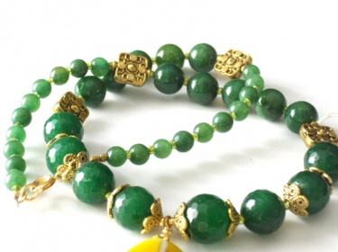 Wire Wrapped Yellow Agate Faceted Green Jade And