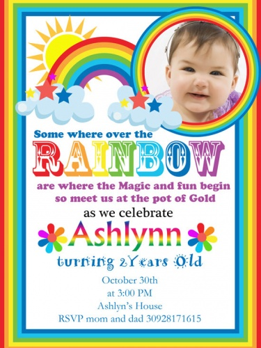 Rainbow Birthday Party Invitation Meylah