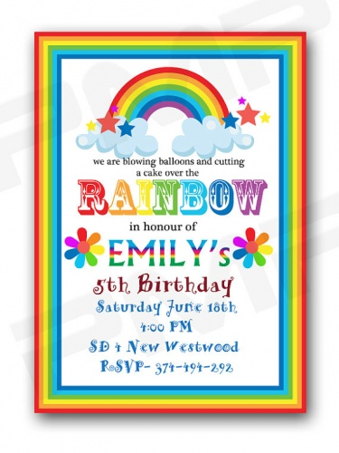 rainbow birthday party invitation  meylah, Birthday invitations