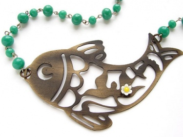 fish necklace metal koi silhouette necklace vintage green jade glass beaded necklace and daisy pendant meylah