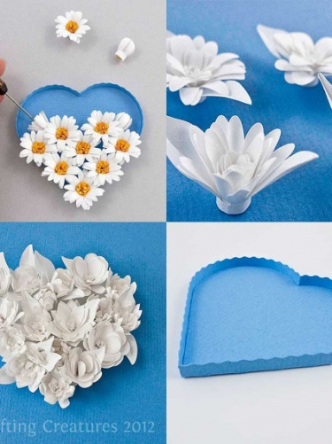 3d fringed flowers  paper quilling blossoms