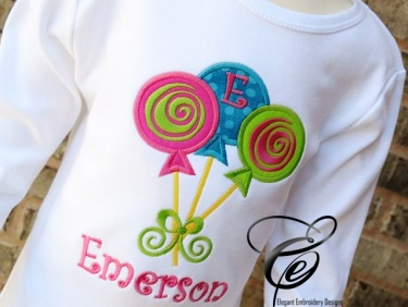 Ringspun T Shirt >> Lollipops Applique T-Shirt by Elegant Embroidery Designs | Meylah