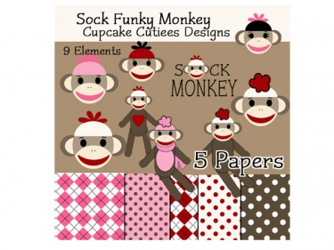 Sock Monkey Commerical Use Clip Art and Digital Paper Elements ...