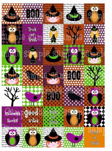 happy halloween 1 5 x 1 5 digital collage sheets