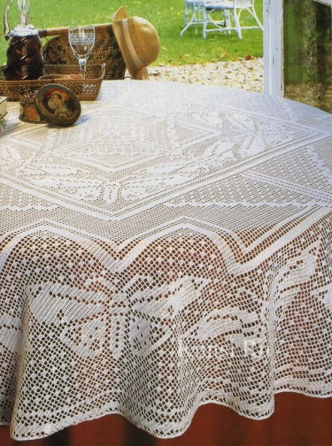 Christmas Sale Round Crochet Tablecloth Bridal Shower Gift White