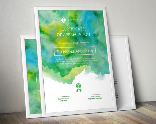 watercolor corporate certificate template for ms word meylah