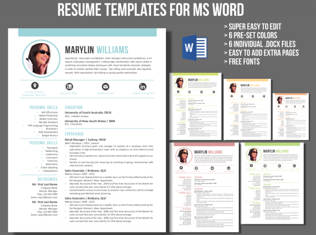 creative 2 in 1 resume template for ms word