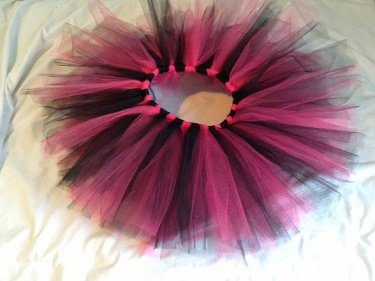 Pink And Black Tutu Skirt With Matching Tulle Hair Clip 24 Months