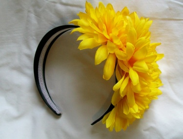 Flower headband cluster of yellow flowers on black satin headband flower headband cluster of yellow flowers on black satin headband girls women hair accessory mightylinksfo