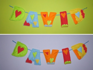 Set Of 5 Custom Made Fabric Letter   Wall Hanging, Letters Baby Name, Kids  Room Decor Banner  Handmade And Made To Order