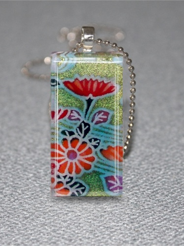 Chiyogami japanese paper glass tile pendant necklace meylah aloadofball Image collections